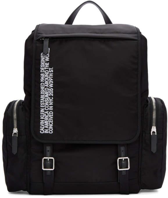 Calvin Klein Black Nylon Flap Backpack