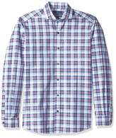 Buttoned Down Men's Tailored Fit Cutaway-Collar Dress Casual Shirt Navy/Berry Check Large