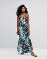 Liquorish Tropical Printed V Neck Strappy Maxi Beach Dress
