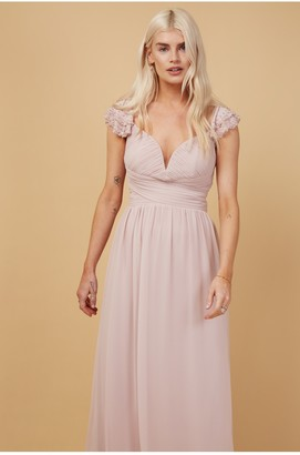 Little Mistress Bridesmaid Nela Blush Embellished Sleeve Maxi Dress