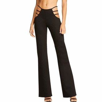 Jiegorge Pants for Women Women High Elasticity High Waist Cutout Solid Strappy Casual Bell-Bottomed Pants