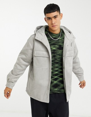 ASOS DESIGN faux suede padded jacket with hood in gray