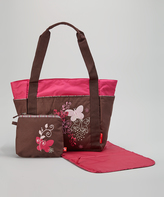 Fisher-Price Brown & Pink Butterfly Embroidered Diaper Bag