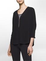 Calvin Klein Performance 3/4 Sleeve Zip Top