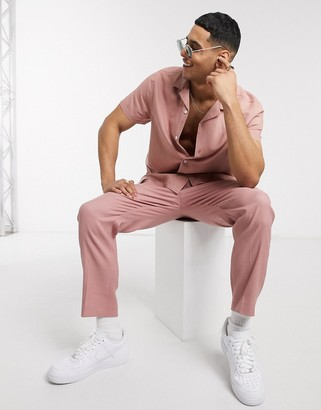 ASOS DESIGN co-ord tapered smart trousers in pink linen
