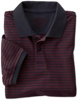 Charles Tyrwhitt Slim fit navy and wine striped pique polo