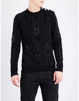 Balmain Metallic-thread Cotton-blend Knitted Jumper