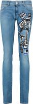 Pierre Balmain Appliquéd low-rise skinny jeans