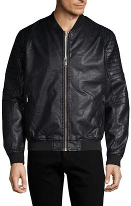 ProjekRaw Projek Raw Faux Fur-Lined Faux Leather Bomber Jacket