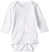Tubesies Long Sleeve Teal Stitch One-Piece (Infant) (White) Kid's Jumpsuit & Rompers One Piece