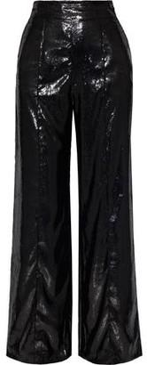 Michael Lo Sordo Metallic Velvet Straight-leg Pants