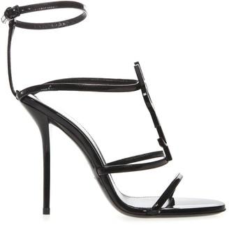 Saint Laurent Black Cassandra Patent Leather Sandals
