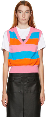 MSGM Pink and Orange Stripe Sweater Vest