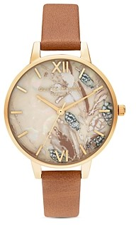 Olivia Burton Abstract Florals Honey Tan Leather Strap Watch, 34mm