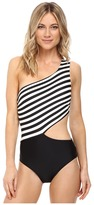 MICHAEL Michael Kors Stable Stripe One Shoulder Cut Out One-Piece