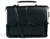 Asos Satchel Bag With Scallop Bar Detail - Black