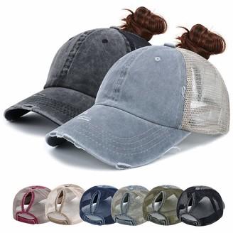 YouGa DIRECT Ponytail Washed Baseball Cap - Unisex Mesh Trucker Hat Dad Cap