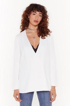 Nasty Gal Womens Collarless PB Blazer - White - 6, White