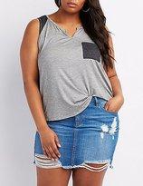 Charlotte Russe Plus Size Ringer Pocket Tank Top