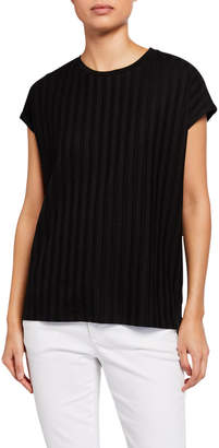 Eileen Fisher Petite Wide Rib Crewneck Lyocell Top