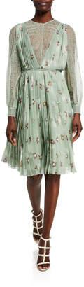 Valentino Lace Long Sleeve Pleated Silk Dress