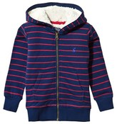 Joules Red and Navy Sherpa Fleece Lined Hoodie