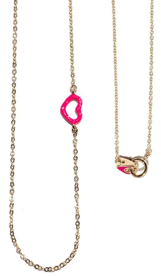 Jordan Askill Single Pink Glitter Enamel Heart Necklace
