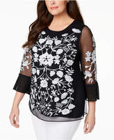 Charter Club Plus Size Embroidered Mesh Top, Created for Macy's