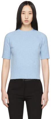 Victoria Beckham Blue Raglan Short Sleeve Sweater
