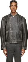 Palm Angels Black Leather Quote Biker Jacket
