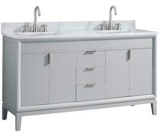 "Carrera Mercury Row Wigley 61"" Double Bathroom Vanity Set Mercury Row Top Finish White Marble, Base Finish: Dove Gray"