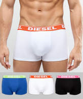 Diesel Trunks In 3 Pack With Logo Waistband In Multi