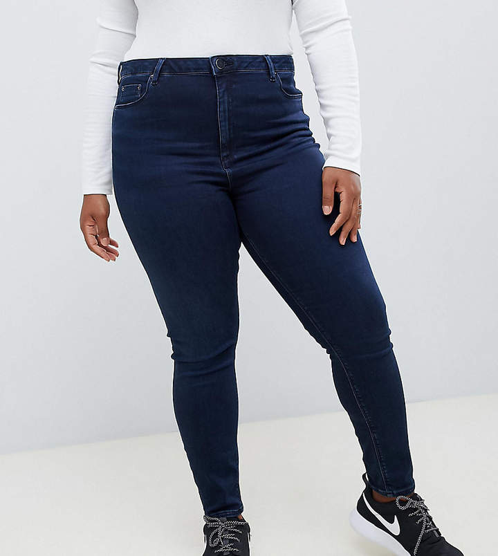 Asos DESIGN Curve Ridley high waist skinny jeans in blackened blue wash
