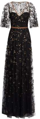 Marchesa Illusion Elbow-Sleeve Embroidery Gown