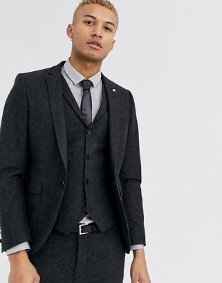 Twisted Tailor super skinny suit jacket with patch pockets in dark gray