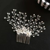 Missgrace Bridal Wedding Hair Comb-Crystal Bridal Flower Hair Comb