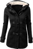 URqueen Women's Hooded Horn Button Wool Pea Coat Jacket L