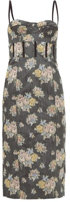 Brock Collection Corseted Floral-jacquard Midi Dress - Womens - Black Multi