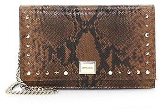 Jimmy Choo Lizzie Snakeskin-Embossed Leather Clutch