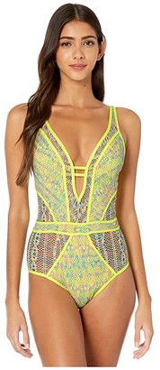Becca by Rebecca Virtue Reveal Crochet Plunge One-Piece (Chartreuse) Women's Swimsuits One Piece