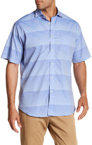 Thomas Dean Gradient Stripe Short Sleeve Regular Fit Shirt