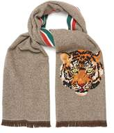 Gucci Tiger-embroidered wool-blend scarf