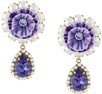 Dolce & Gabbana Floral Embellished Drop Earrings