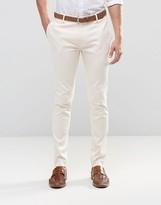 Asos Super Skinny Smart Pants In Cotton Sateen In Cream