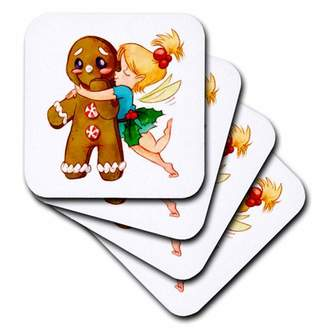 3drose 3dRose Cute Fairy Kissing Gingerbread Man, Ceramic Tile Coasters, set of 4