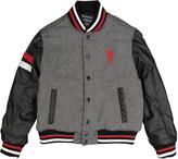 U.S. Polo Assn. Heather Gray & Black Baseball Jacket - Boys