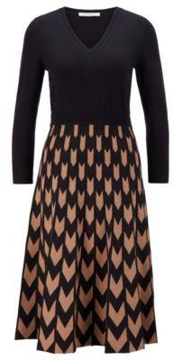 HUGO BOSS V Neck Knitted Dress With Chevron Jacquard Skirt - Patterned