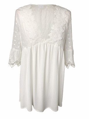 Kim Zy White Boho Peasant Gypsy Romantic Lace Tunic Empire Long Sleeve Blouse Shirt Top (12)