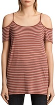 AllSaints Tyra Striped Cold-Shoulder Top