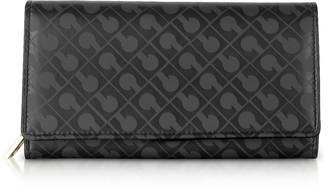 Gherardini Signature Black Leather & Fabric Flap Wallet